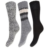 Ladies/Womens Thermal Thick Chunky WOOL Socks (Pack of 3) (6.5-9.5) (Blue)