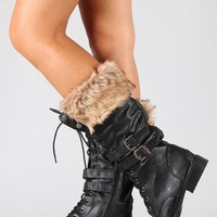 Lug-15 Fur Lace Up Military Mid Calf Boot