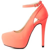 Neon Cut-Out Ankle Strap Platform Pumps - Neon Coral