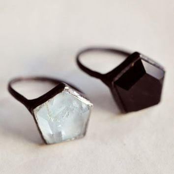 Aesa Silver 3D Hex ring in Onyx or Aquamarine