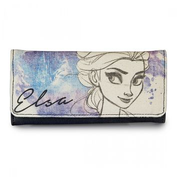 """""""Frozen Hand Drawn Elsa"""" Canvas Wallet by Loungefly (Ivory)"""