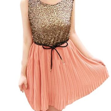 Allegra K Women's Sequins Front Chiffon Tank Dress W A Waist Belt
