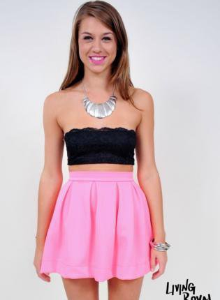 Neon Pink High Waisted Skater Skirt with Pleating Detail