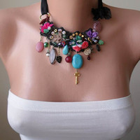 Black and Colorful Bead Necklace - Speacial Handmade Design - Summer Collection