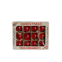 Vintage Ornaments Christmas Tree Red Bulbs - Set of 12, 2 Inch Bulbs
