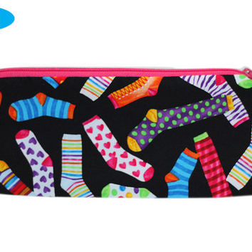 NEW Sock Notions Bag   Notions Zippered Pouch   Notions Zipper Bag   Colorful Socks Bag