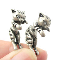 Fake Gauge Earrings: Adorable Kitty Cat Shaped Animal Themed Stud Earrings in Silver - Adorable Kitty Cat Animal Fake Gauge Earrings in Silver