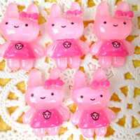 Kawaii Cabochons Pink Rabbit 5 Pieces