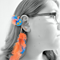 Ear Cuff - Monster, Critter, Creature, Feathers, Pompom, Wire Wrap, Turquoise, Orange - OOAK Jewelry