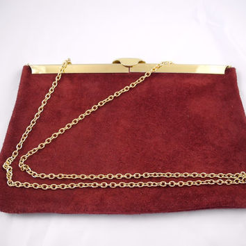 Purse, Clutch, Handbag Vintage Suede Leather in Burgundy Wine Red, Gold Chain