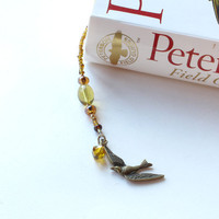 Bird book thong, beaded bookmark - gold glass beads brass
