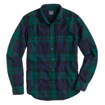 J.Crew Mens Tall Herringbone Flannel Shirt In Black Watch Plaid