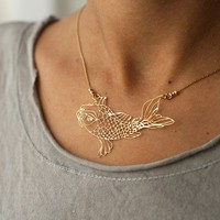 KOi fish golden pendant by kerenasaf on Etsy