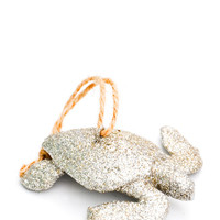 Shimmering Sea Turtle Ornament - Silver
