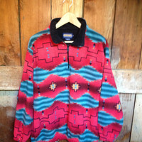 Vintage Indian Blanket Fleece Pullover Jacket, Mens  S M