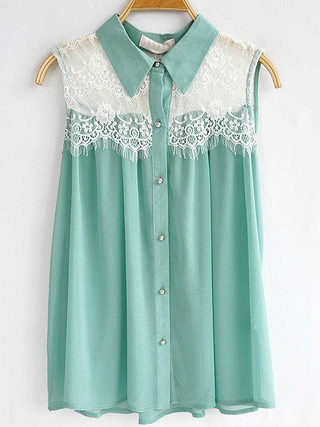 Turquoise Sleeveless Floral Lace Panel Chiffon Pleated Shirt - Sheinside.com