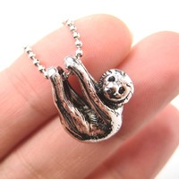 Sloth Baby Animal Pendant Necklace Realistic and Cute in Shiny Silver - Cute Sloth Pendant Necklace Shiny Silver