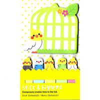 Large Parakeet Bird Shaped Animal Themed Memo Post-it Index Sticky Pad Bookmark Tabs - Large Parakeet Bird Shaped Sticky Note Pad