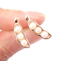 Peas in A Pod Stud Earrings in Rose Gold with Pearl Detail | DOTOLY - Peas in A Pod Shaped Stud Earrings in Rose Gold