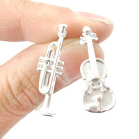 Musical Instrument Themed Violin and Trumpet Shaped Stud Earrings in Silver - Musical Instrument Themed Stud Earrings in Silver