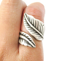 Classic Leaves Wrapped Around Your Finger Shaped Floral Ring in Silver | Size 6 - Size 6