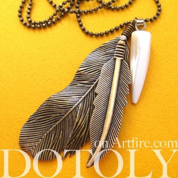 Bohemian Realistic Feather Pendant Necklace in Bronze | DOTOLY - Feather Pendant Necklace