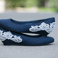 Navy blue ballet flat/low wedge wedding heel with ivory lace applique. Size 7.5