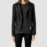 Womens Hemming Leather Biker Jacket (Black) | ALLSAINTS.com