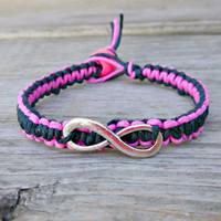 Pink and Black Punk Infinity Hemp Bracelet Silver Charm