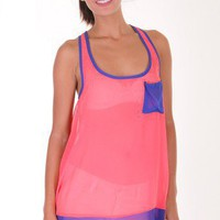 CORAL SHARKTAIL CHIFFON TANK TOP @ KiwiLook fashion