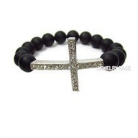 Frosted Black Onyx Sideways Cross Bracelet