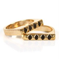 Gold Stacked Pyramid Rings