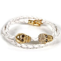 White Braided Skull Bracelet