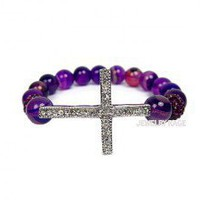Purple Agate Sideways Cross Bracelet