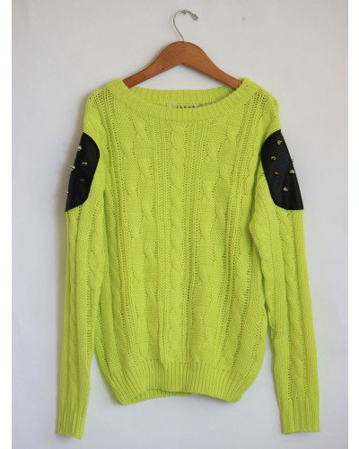 Studded Patch Knit Lime Sweater