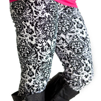 Faux Fur Lined Leggings Monochrome Damask - MonochromeDamask