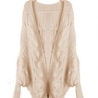 Beige Loose Twist Cape Cardigan$45.00