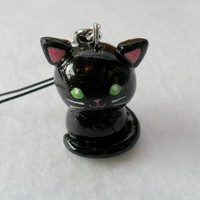 Kawaii Black Kitty Cat Charm, with Cell Phone Strap