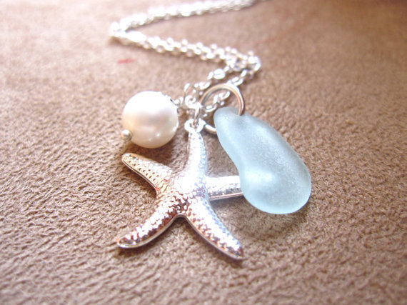 Sea Glass Starfish Necklace in Seafoam Blue with fresh water pearl - Perfect Necklace for Beach Outing in Summer