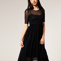 ASOS | ASOS Dobby Mesh Waisted Dress at ASOS
