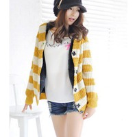 Yellow Short Fur Sweater Cap Heavy Top@T901y