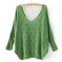 Green Sexy Sweater with Lace Back$42.00