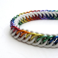 Stretchy rainbow chainmail bracelet, plus size jewelry
