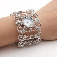 buy cheap Women's Silver Bracelet Watch with White Czechic Diamond Decoration wholesale on China Gadget Land