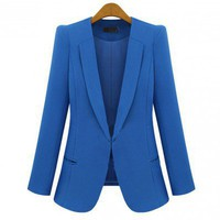 Polyester, Cotton Blue Long Sleeve Lapel One Covered Button Design Blazer  style 819zz001-Blue in Blazers - Outerwear