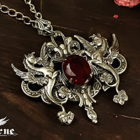 Ruby Red Gem and Hippocampus - Gothic Necklace Pendant , Neo Victorian, Steampunk, Lolita, Mythology,Fantasy