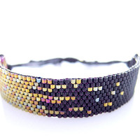 Black Beaded Bracelet, Cotton Cord Bracelet, Stardust Pixel Effect, Gold Cord Bracelet, OOAK Handmade by JeannieRichard