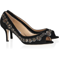 Oscar de la Renta Brita embellished suede peep-toe pumps – 62% at THE OUTNET.COM