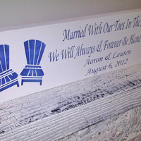 Customized beach wedding sign, destination &quot;Married with our toes in the sand, we will always &amp; forever be hand in hand&quot;