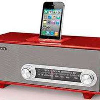 Crosley Ranchero Univeral iPod/iPhone/MP3 Dock w/ Analog AM/FM Radio/Tuner - Red